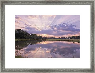 Sun Setting Over Pond Framed Print by Bonnie Barry