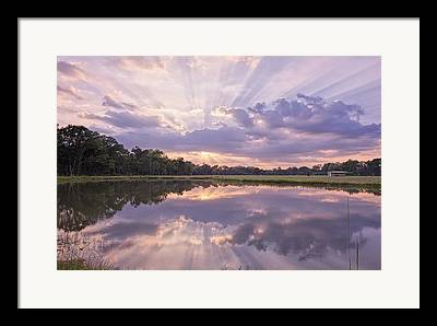 Sunset Reflecting In Water Framed Prints