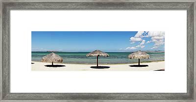 Sun Shade On The Beach Of La Paz, Baja Framed Print