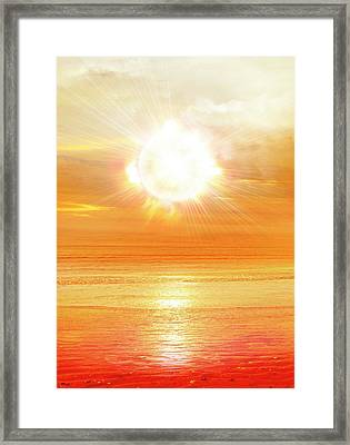 Sun Shining Over Water Framed Print by Victor Habbick Visions