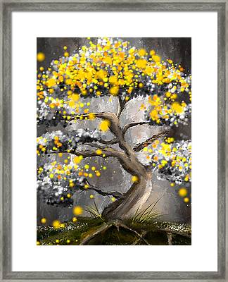 Sun Showers - Yellow And Gray Art Framed Print by Lourry Legarde