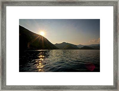 Sun Sparkles On The Mediterranean Sea Framed Print