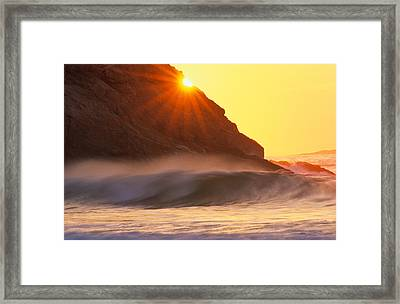 Sun Star Singing Beach Framed Print by Michael Hubley