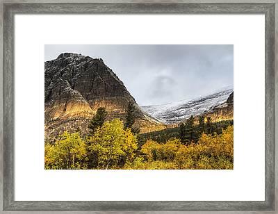 Sun Streak On Altyn Mountain Framed Print by Mark Kiver