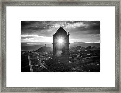 Sun Tower Of Potosi Black And White Framed Framed Print by For Ninety One Days