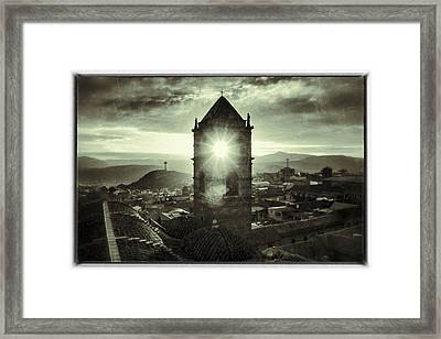 Sun Tower Of Potosi Black And White Vintage  Framed Print by For Ninety One Days