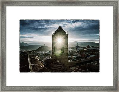 Sun Tower Of Potosi Vintage Framed Print by For Ninety One Days