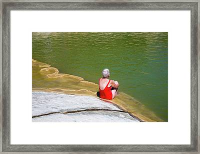 Sunbather At A Geothermal Pool Framed Print by Jim West