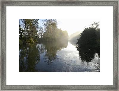 Sunbeams On Orb River By Morning Mist Framed Print by Sami Sarkis