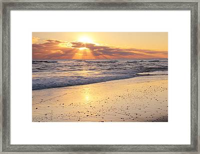 Sunbeams On The Beach Framed Print