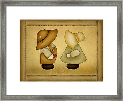 Sunbonnet Sue And Overall Sam Framed Print by Brenda Bryant