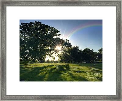 Sunburst At The End Of A Rainbow Framed Print