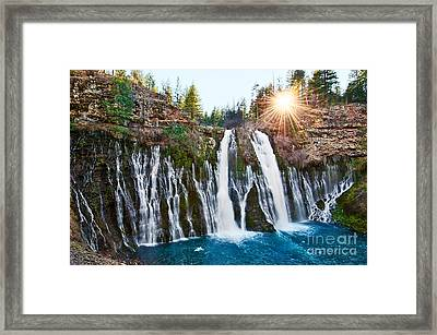 Sunburst Falls - Burney Falls Is One Of The Most Beautiful Waterfalls In California Framed Print by Jamie Pham