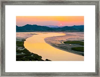 Suncheon Bay Sunset Framed Print