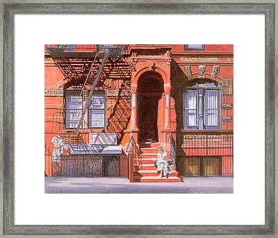 Sunday Afternoon East 7th Street Lower East Side Nyc Framed Print by Anthony Butera