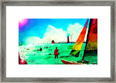 Framed Print featuring the painting Sunday At Grand Haven by Ted Azriel