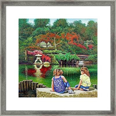 Framed Print featuring the painting Sunday At The Park by Michael Frank