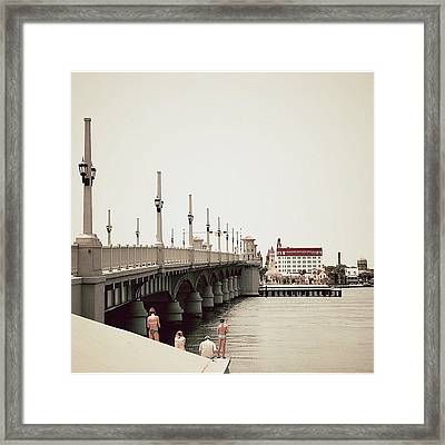 Sunday By The Bridge - Fl Framed Print