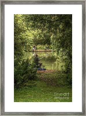 Sunday Fishing At The Lake Framed Print