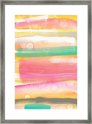 Sunday In The Park- Contemporary Abstract Painting Framed Print by Linda Woods