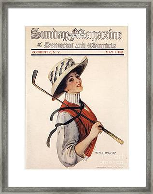 Sunday Magazine 1910s Usa Golf Womens Framed Print by The Advertising Archives