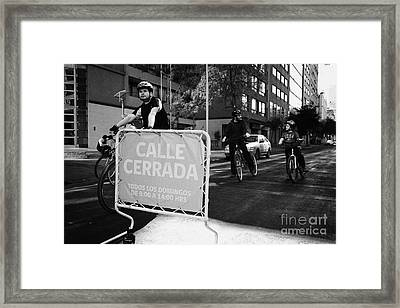 sunday morning roads closed for cyclists and walkers Santiago Chile Framed Print by Joe Fox