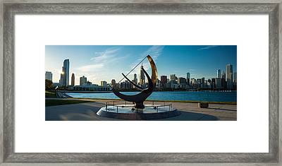 Sundial And Chicago Il Framed Print
