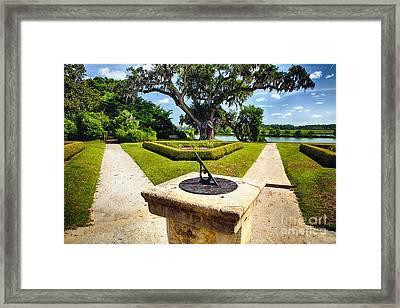 Sundial In Plantation Garden Framed Print