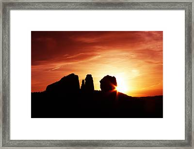 Sundown At Cathedral Framed Print by Tom Kelly