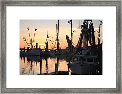 Sundown At Marshallberg Harbor Framed Print