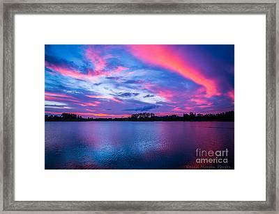 Sundown At The Lake Framed Print by David Morgan