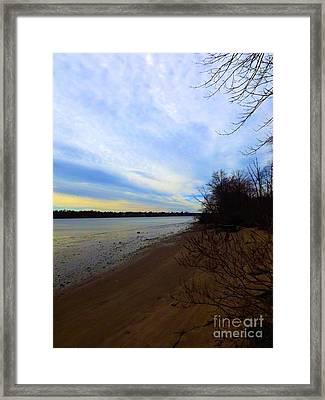 Sundown By The Side Of The River Framed Print