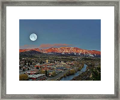 Sundown Moon Rise Framed Print