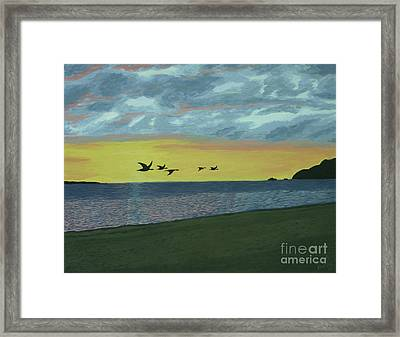 Sundown On Lake Superior Framed Print