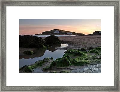 Sundown On The Beach  At Bigbury On Sea In Devon Framed Print