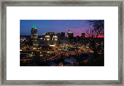 Sundown On The City Framed Print by Cathy Donohoue