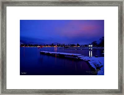 Sundown - The Blue Hour At Skaha Lake Framed Print