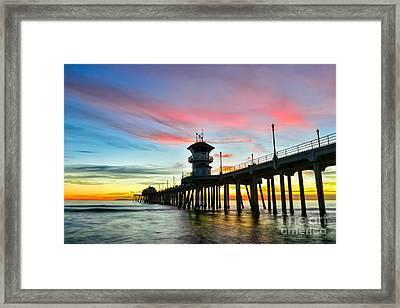 Sunet At Huntington Beach Pier Framed Print by Peter Dang