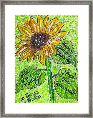 Sunflower Advice Framed Print