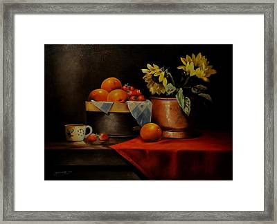 Sunflower And Fruits Framed Print by Epifanio jr Mendoza