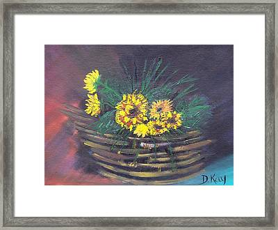 Sunflower Basket Framed Print by The GYPSY And DEBBIE