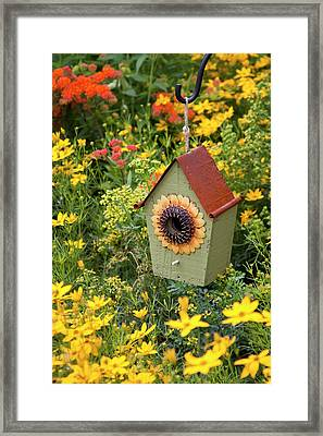 Sunflower Birdhouse In Garden Framed Print by Richard and Susan Day