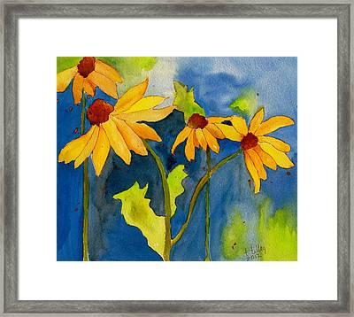 Sunflower Blue Watercolor Framed Print