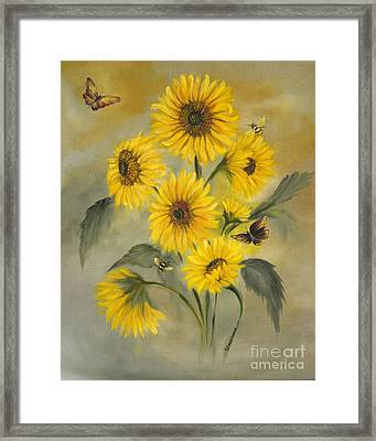 Framed Print featuring the painting Sunflower Bouquet by Carol Sweetwood