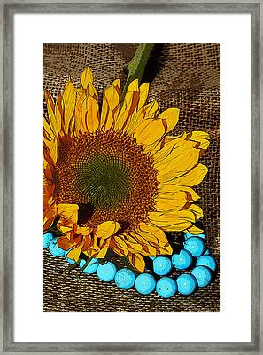 Sunflower Burlap And Turquoise Framed Print