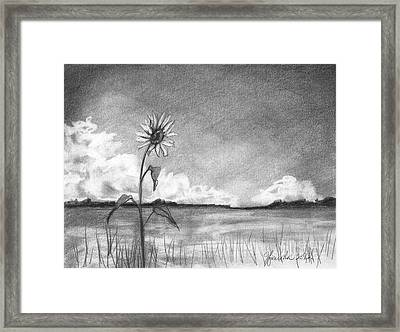 Framed Print featuring the drawing Sunflower Cloud by J Ferwerda