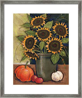 Sunflower Crock Framed Print