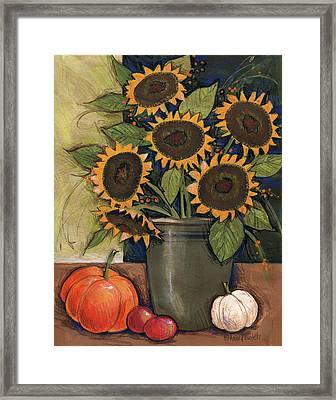 Sunflower Crock Framed Print by Anne Tavoletti
