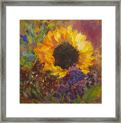 Sunflower Dance Original Painting Impressionist Framed Print