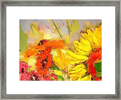 Framed Print featuring the painting Sunflower Detail by Ana Maria Edulescu